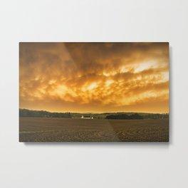 Fiery Skies Over Pennsylvania Landscape Metal Print