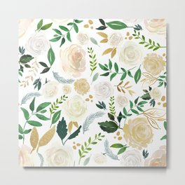 White and beige roses pattern Metal Print