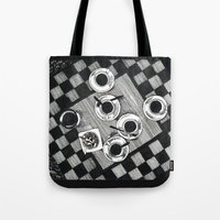 cigarettes Tote Bags featuring Coffee and Cigarettes by Aleksandra Kabakova