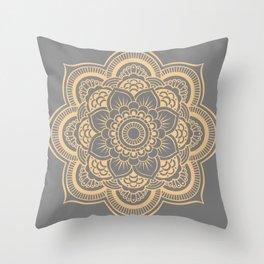 Mandala Flower Gray & Peach Throw Pillow