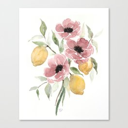 Watercolor-poppies-and-lemons Canvas Print