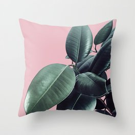 Ficus Elastica #14 #CoralBlush #decor #art #society6 Throw Pillow