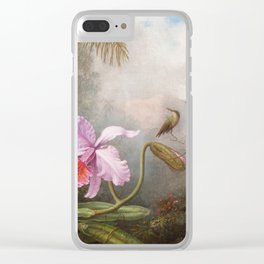 Martin Johnson Heade - Cattleya Orchid With Two Hummingbirds Clear iPhone Case