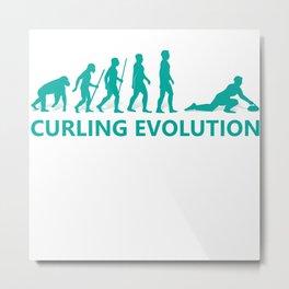Curling Evolution Gift T-Shirt Metal Print