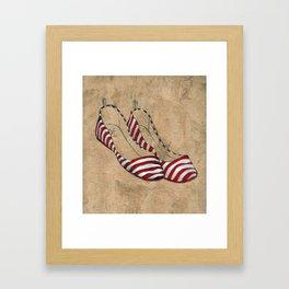 Red and white stripes Framed Art Print