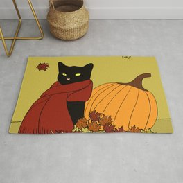 Cascade The Black Cat In Red Scarf With Pumpkin - Fall Rug