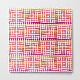 Dottywave - Pink Orange wave dots pattern Metal Print