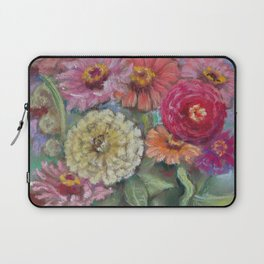 Autumn FLOWERS in the garden Still Life Pastel drawing Pink Purple Decorative Painting Laptop Sleeve
