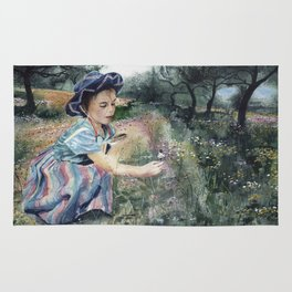 girl in the olive grove Rug