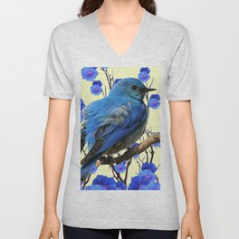 BLUE BIRD & BLUE MORNING GLORIES ART FROM  SOCIETY6 BY SHARLESART. Unisex V-Neck