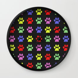 Paw Prints Pattern II Wall Clock