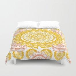 Citrus and Salmon Colored Mandala Textile Duvet Cover