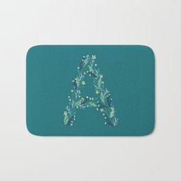 Turquoise flowers alphabet A Bath Mat