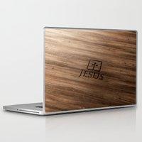 bible Laptop & iPad Skins featuring Jesus (wood) - Bible Lock Screens by Bible Lock Screens