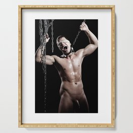 Scream Slave - Nude male man in shackles Serving Tray