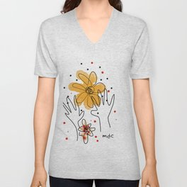 HAND AND FLOWERS Unisex V-Neck