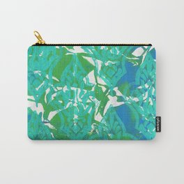 Blue Green Damask Carry-All Pouch