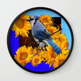 2 BLUES YELLOW SUNFLOWERS BLUE JAY BIRD Wall Clock
