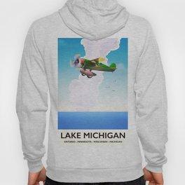 Lake Michigan flight travel poster Hoody