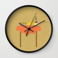 thanksgiving Wall Clocks featuring Thanksgiving by Suchita Isaac