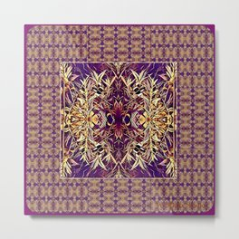 Midwestern Autumn, Foliage, Dry Plants, Purple Nature Pattern Metal Print