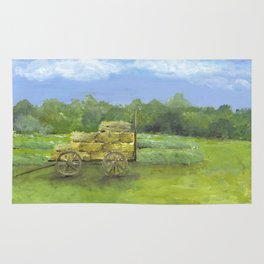 Hay Wagon in a Farm Field, Country Landscape Art Rug