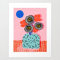 Far Out - still life memphis abstract collage floral vase flowers retro 80s style Art Print