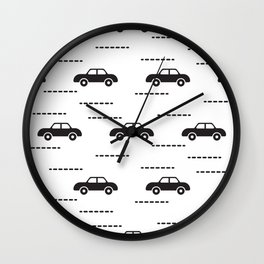 Black automobile road pattern Wall Clock