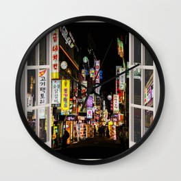 Seoul Street by night | OPEN WINDOW ART Wall Clock