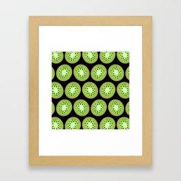 Kiwi Pattern  |  Black Background Framed Art Print