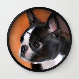 Perky Boston Terrier Wall Clock