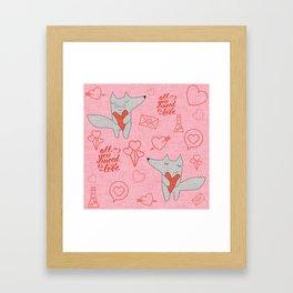 Fox in love pink Hearts Framed Art Print
