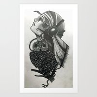 Vintage Style Gypsy Woman and Owl  Art Print