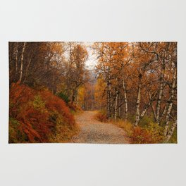 Winding country road in a fall forest Rug