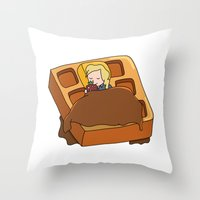 leslie knope Throw Pillows featuring Leslie Knope + Giant Waffle by Faellen