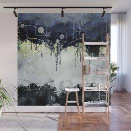 Modern Indigo Eclipse Abstract Design Wall Mural