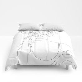 Minimal Line Art Woman with Flowers II Comforters