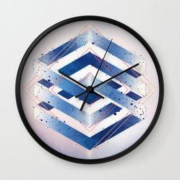 Indigo Hexagon :: Floating Geometry Wall Clock