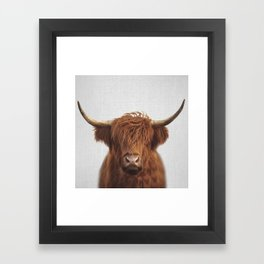 Highland Cow - Colorful Framed Art Print