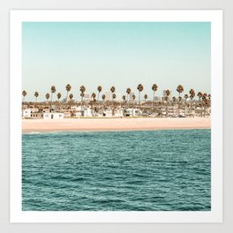 Vintage Newport Beach Print {1 of 4} | Photography Ocean Palm Trees Teal Tropical Summer Sky Art Print