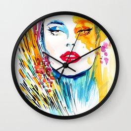 Multicolor fashion illustration Wall Clock