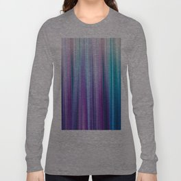 Abstract Purple and Teal Gradient Stripes Pattern Long Sleeve T-shirt