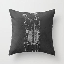 Brassiere Girdle Antique Patent Throw Pillow