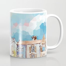 Colorful street in old town under abstract sky Coffee Mug