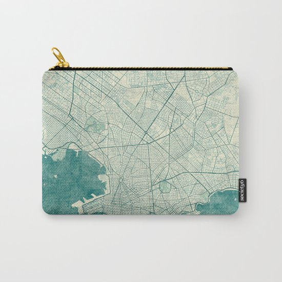 Montevideo Map Blue Vintage Carry-All Pouch