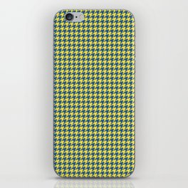 Yellow Blue Houndstooth Pattern iPhone Skin