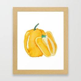 yellow bell pepper watercolor Framed Art Print
