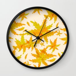 Exotic Tropical oak leaves pattern Wall Clock