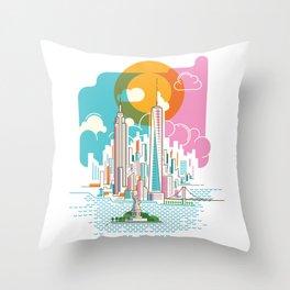 New York City Skyline Graphic Design Throw Pillow