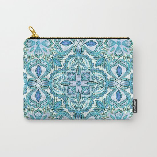 Colored Crayon Floral Pattern in Teal & White Carry-All Pouch